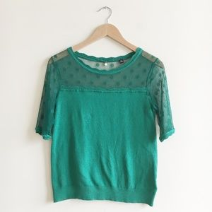 Anthropologie Knitted & Knotted Green Mirage Top